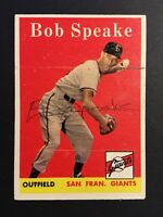 Bob Speake Signed 1958 Topps Baseball Card #437 Auto Autograph