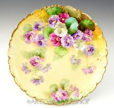 Antique Richard Ginori Italy HANDPAINTED FLOWERS CABINET PLATE Artist Signed