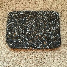 ZARA Black Shinny Glitter Clutch Bag Handbag Purse Wristlet Wallet