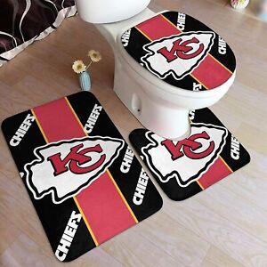 Kansas City Chiefs Bathroom Bath Mat Set 3PCS Toilet Lid Cover Contour Rug Decor