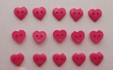 Fuschia Heart Buttons ( Small )  x 15