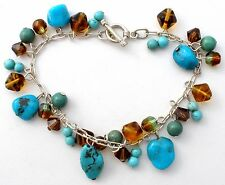 Sterling Silver Charm Bracelet with Turquoise Beads Crystals Gemstones Vintage