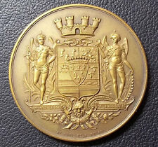 FRANCE VILLE DE BOLBEC, OLD ART NOUVEAU WINGED GUARDIANS SHIELD, SIGNED BY ROUEN