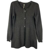 Margaret O'Leary Lagenlook Duster Sweater Size S Gray 3 Button Cardigan