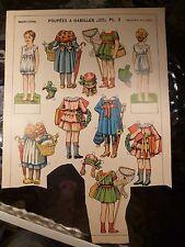 """Vintage 1908 """"Poupees A Habiller PL. 2""""  Paper Dolls - France partial sheet"""