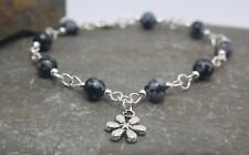 Handcrafted Snowflake Obsidian bead bracelet with Flower Charm Semi precious