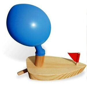 BALLOON POWER BOAT Ship wood wooden Retro classic water/bath tub/pool toy NIB