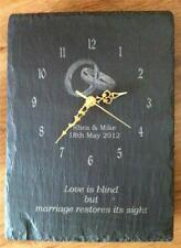 natural slate personalised engraved wall clock wedding or anniversary gift