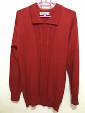 BURBERRY vintage 100% merino wool jumper sweater red cable knit front 38'' Large