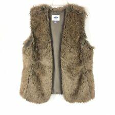 NWOT Old Navy Womens Fur Vest Open Front Winter Sz L Gray Cream Beige Insulated