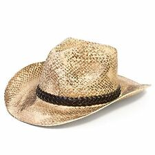 Cowboy Stetson Style Summer Hat with Braided Band (Beige/Brown, 59 cm)