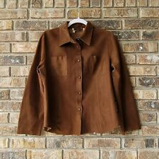 Opifix Women's Brown Leather Button-Down Shirt Italian 46 US Large 10 EUC