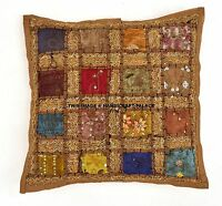 """16"""" Handmade Floral Patch Work Pillow Cushion Cover Throw Indian Home Decor Art"""