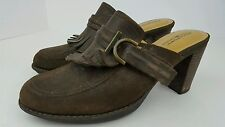Rockport Women's Size 7.5M Brown Leather Suede Fringed Stacked Block Heel Clogs