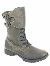 Fly London Combat Boots Lace up  Buckle and Side Zip Dark Sage EU.36 US 5.5-6