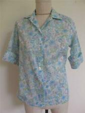 Vtg Nos 60s Blouse Blue Floral Print 32 S Xs Short Sleeve Button Down Summer