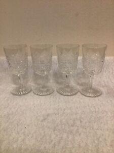 4 x Antique HOBNAIL Cut Crystal Glasses - Sherry / Port / Liquor