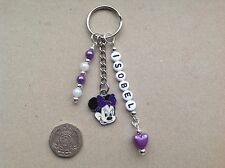 Handmade Personalised Any Name Minnie Mouse inspired keyring bag charm