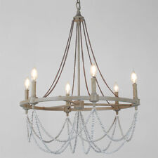 ELEGANT RUSTIC DRAPE CHANDELIER 6 LIGHT French Vintage Farmhouse Restoration