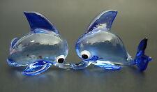 2 botella de vidrio pequeña nariz Delfín marsopa de Cristal Azul Animales De Vidrio Adorno Regalo