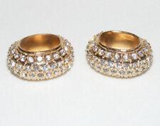2 Pretty Gold Tone Godiva Rhinestone Oval Scarf Slides Z1