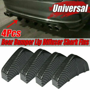 4X Car Rear Bumper Diffuser Shark Fins Splitter Accessories Carbon Fiber Look