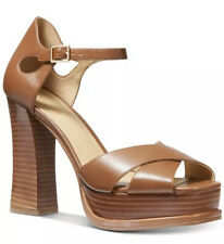 Michael Kors Elana Sandals Platform Leather Luggage 10 M $160
