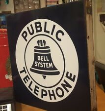 Original Porcelain BELL SYSTEM PUBLIC TELEPHONE Sign Double Sided Flange 18x18