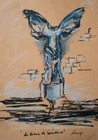 Original Pastel Ink Modern French Greek Statue Louvre Blue Gallery Artist Anya