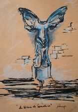 Original Pastel Ink Modern French Greek Statue Louvre Blue Gallery Artist Anya