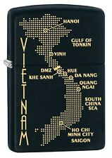 Zippo Lighter: Vietnam War Map - Black Matte 79503