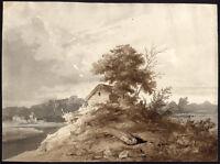 Antique Drawing-LANDSCAPE-TREES-CABIN-Van der Grient-ca. 1840