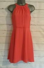 NEW LOOK Size 6 Summer Dress ORANGE Sheer/Lined HALTER NECK Mini VGC Women's