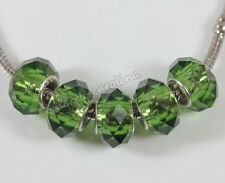 5Pcs Lampwork Glass Charm Murano Big Hole Bead Fit European Bracelet DIY 14x10mm