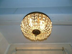 French ceiling light bronze brass crystals beautiful designed 3 light vintage