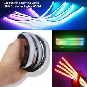 4PCS 12V LED Grill Colorful Car Steering Driving Lamp SUV Streamer Lights 60CM