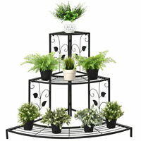 3 Tier Corner Metal Flower Pot Rack Floral Plant Stand Stair Display Ladder