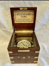 Antique Waltham 8 Day Marine Chronometer In Gimbaled Mahogany Box