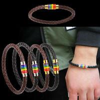 Titan Stahl Magnet Regenbogen Flagge Charme Homosexuell Echtes Armban Leder H5T2