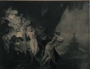 """Original Fine Art Etching By Norman Lindsay """"Moonlights Piper 1925"""" # 20/55"""