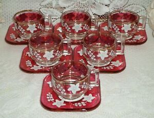 Vintage Made in Italy Handpainted Red Glass Coffee Set of 6 Cups and Saucers