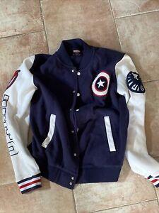 Marvel Comics Captain America Snap Button Jersey-Knit Varsity Jacket Size M