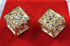 14k Yellow Gold Plated Simulated Diamond Stud Dice Earrings