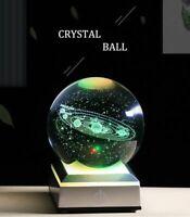 Led Solar System Planet Globe 3D Sun Ball K9 Crystal Decor Light Base Laser Engr