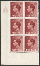 1936 1½d Red Brown A36 Cylinder 4 dot Block of 6 Mounted Mint V87832