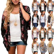 Summer Womens Floral Chiffon Loose Shawl Kimono Cardigan Tunic Tops Shirt Blouse