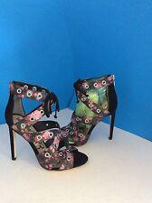 Sam Edelman Phoebe Rose/Black Flora Leather High Heel Sandals Size 7.5M *NEW