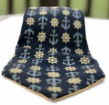 Gucci Mens Neck Tie 100% Silk made in Italy ANCHOR SHIP Wheel authentic