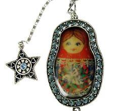 PILGRIM Matryoshka Russian Doll Long Necklace BABUSHKA Star Silver Blue BNWT
