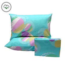 3 Pce Bubbles Aqua Pure Cotton Quilt Doona Duvet Cover Set - QUEEN